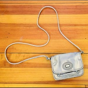 Fossil silver leather cross body purse